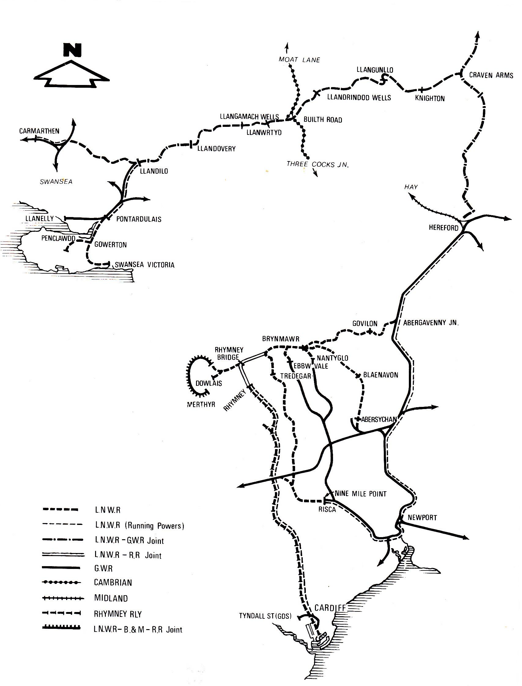 LNWR Central and South Wales Map