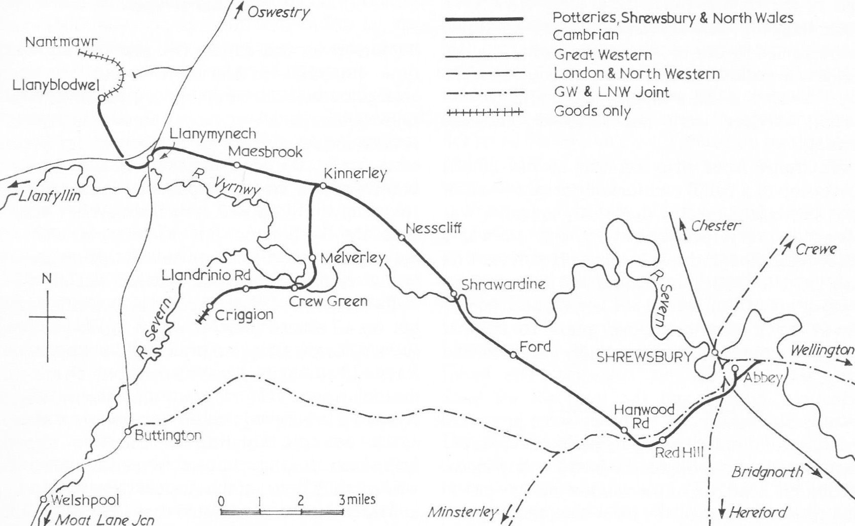 Shropshire and Montgomeryshire Railway Map